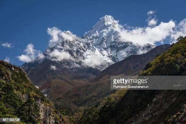 Ama Dablam mountain peak in cloud, Everest region, Nepal