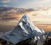 Evening view of Ama Dablam on the way to Everest Base Camp, Sagarmatha national park, Khumbu valley, Nepal