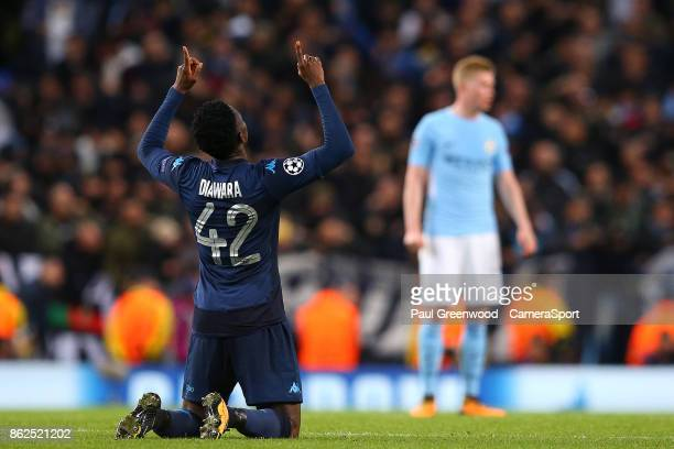 Amadou Diawara celebrates scoring his side's first goal to make the score 21 during the UEFA Champions League group F match between Manchester City...