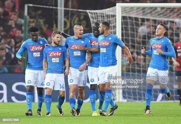 Amadou Diawara Marek Hamsik Kalidou Koulibaly Faouzi Ghoulam Piotr Zielinski and Dries Mertens of SSC Napoli celebrate the 11 goal scored by Dries...