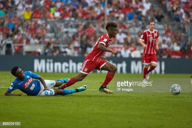 Amadou Diawara of Napoli and Kingsley Coman of Bayern Muenchen battle for the ball during the Audi Cup 2017 match between SSC Napoli and FC Bayern...