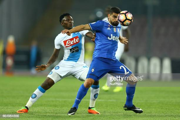 Amadou Diawara of Napoli and Tomas Rincon of Juventus during the TIM Cup match between SSC Napoli and Juventus FC at Stadio San Paolo on April 5 2017...