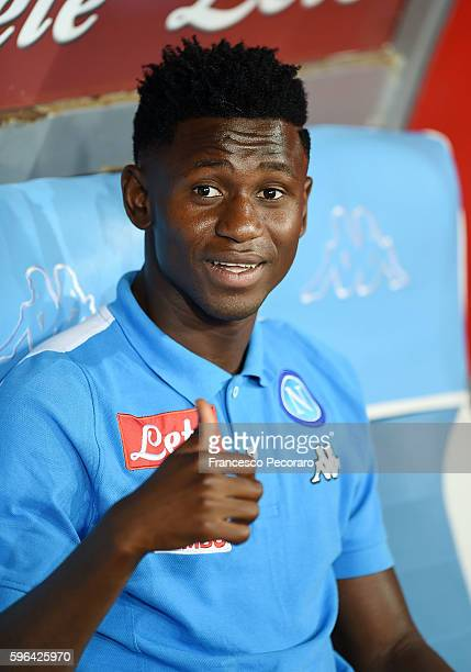 Amadou Diawara of Napoli on the bench before the Serie A match between SSC Napoli and AC Milan at Stadio San Paolo on August 27 2016 in Naples Italy