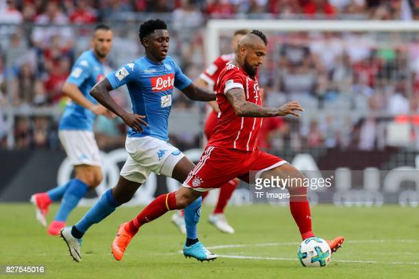 Amadou Diawara of Neapel and Arturo Erasmo Vidal of Bayern Muenchen battle for the ball during the Audi Cup 2017 match between SSC Napoli and FC...