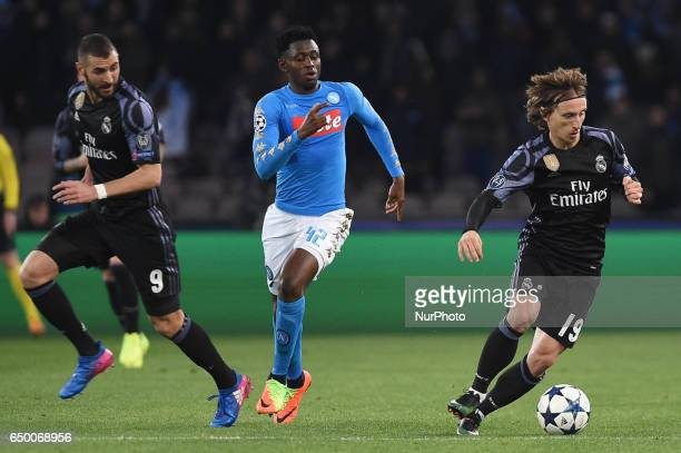 Amadou Diawara of SSC Napoli during the UEFA Champions League match between SSC Napoli and Real Madrid at Stadio San Paolo Naples Italy on 7 March...