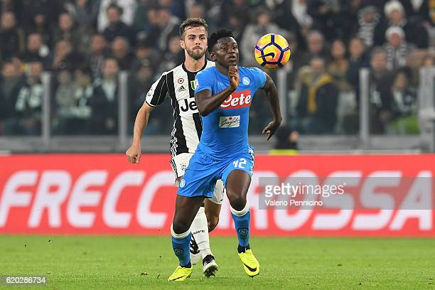 Amadou Diawara of SSC Napoli in action against Miralem Pjanic of Juventus FC during the Serie A match between Juventus FC and SSC Napoli at Juventus...