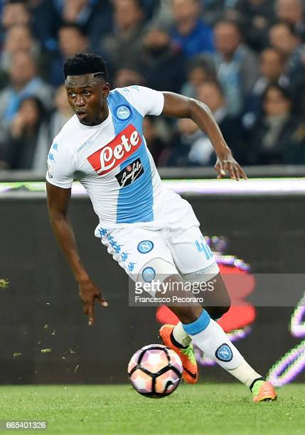 Amadou Diawara of SSC Napoli in action during the TIM Cup match between SSC Napoli and Juventus FC at Stadio San Paolo on April 5 2017 in Naples Italy