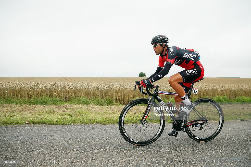 <a gi-track='captionPersonalityLinkClicked' href=/galleries/search?phrase=Amael+Moinard&family=editorial&specificpeople=4158993 ng-click='$event.stopPropagation()'>Amael Moinard</a> of France and the BMC Racing Team in action during the seventh stage of the 2014 Tour de France, a 235km stage between Epernay and Nancy, on July 11, 2014 in Nancy, France.