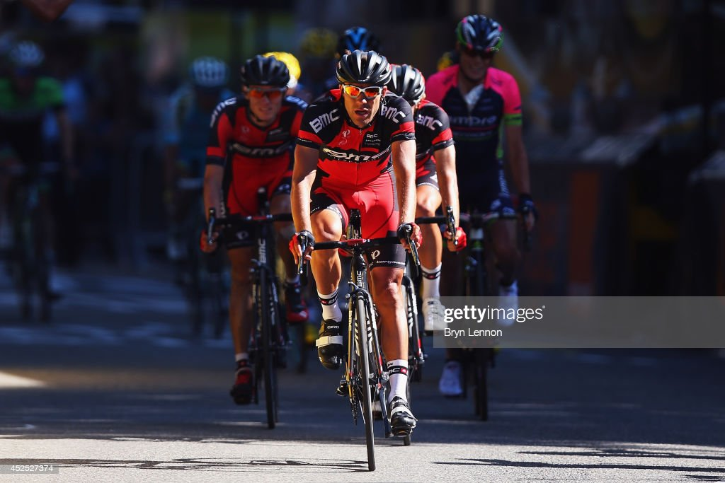 <a gi-track='captionPersonalityLinkClicked' href=/galleries/search?phrase=Amael+Moinard&family=editorial&specificpeople=4158993 ng-click='$event.stopPropagation()'>Amael Moinard</a> of France and the BMC Racing Team leads a group of riders across the finish line in on the sixteenth stage of the 2014 Tour de France, a 238km stage between Carcassonne and Bagneres-de-Luchon, on July 22, 2014 in Bagneres-de-Luchon, France.