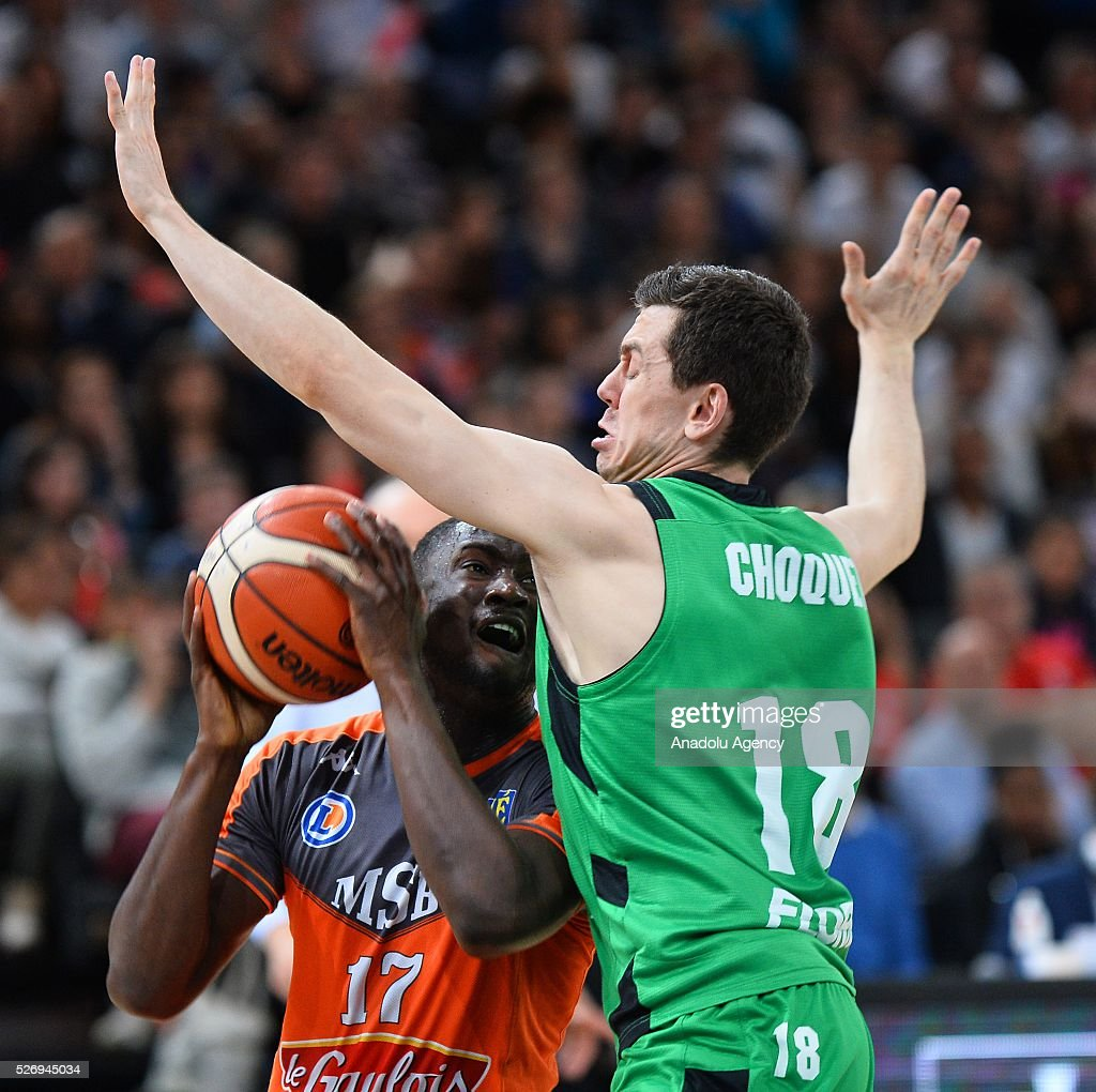 Amagou of Le Mans (L) vies with Choquet of ASVEL (R) during the Basketball men's National Cup Final match between ASVEL and Le Mans at Hotel Accor Arena Bercy on May 1, 2016 in Paris, France.