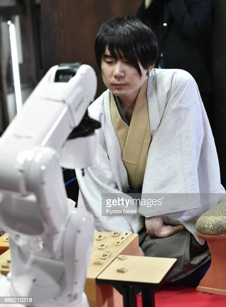 Amahiko Sato a Meijin grandmaster or top professional player of shogi Japanese chess loses to shogi software 'Ponanza' on May 20 in the final round...