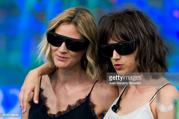 Amaia Salamanca and Ursula Corbero attend 'El Hormiguero' Tv show at Vertice Studio on April 25 2016 in Madrid Spain