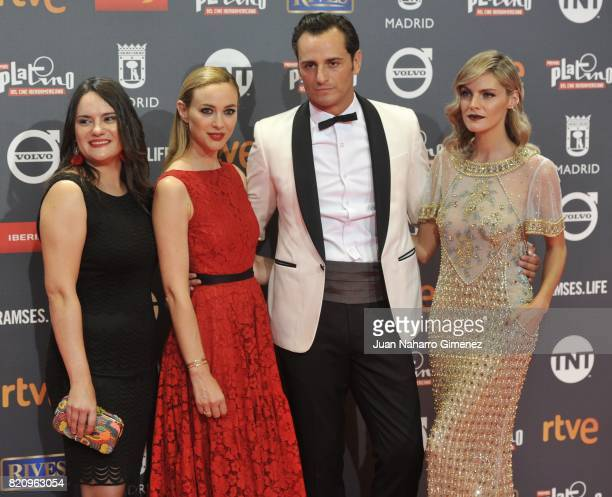 Amaia Salamanca Asier Etxeandia and Marta Hazas attend the 'Platino Awards 2017' photocall at La Caja Magica on July 22 2017 in Madrid Spain
