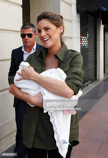 Amaia Salamanca presents her daughter Olivia at Ruber hospital on April 11 2014 in Madrid Spain
