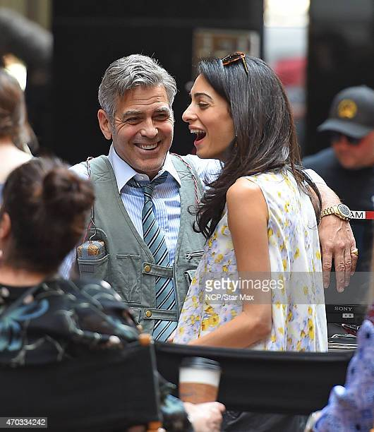 Amal Alamuddin Clooney and George Clooney are seen on the set of 'Money Monster' on April 18 2015 in New York City