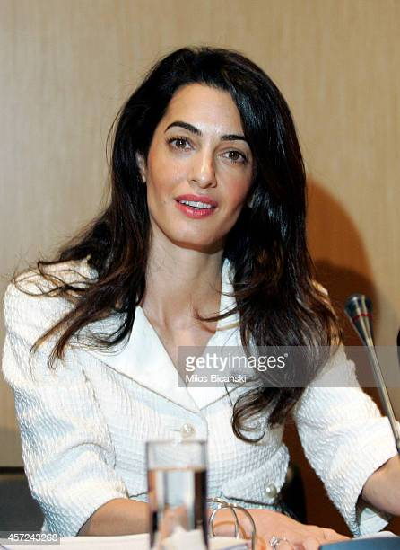 Amal Alamuddin Clooney attends a press conference at the Acropolis Museum in Athens on October 15 2014 in Athens Greece Human rights lawyer Amal...