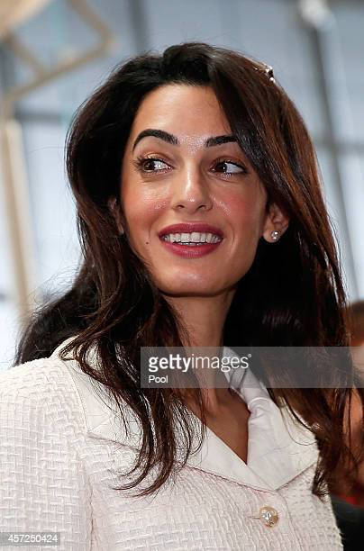 Amal Alamuddin Clooney during a visit at the Parthenon hall inside the museum in Athens on October 15 2014 in Athens Greece Human rights lawyer Amal...
