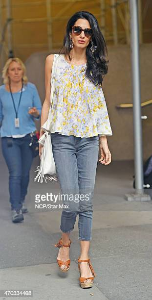 Amal Alamuddin Clooney is seen on the set of 'Money Monster' on April 18 2015 in New York City