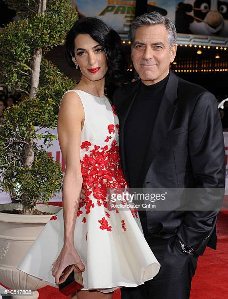 Amal Clooney and actor George Clooney arrive at the premiere of Universal Pictures' 'Hail Caesar' at Regency Village Theatre on February 1 2016 in...
