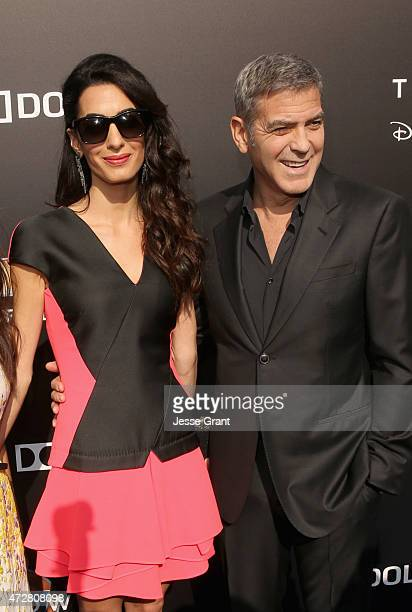 Amal Clooney and actor George Clooney attend the world premiere of Disney's 'Tomorrowland' at Disneyland Anaheim on May 9 2015 in Anaheim California