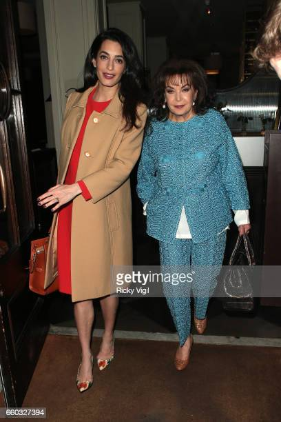 Amal Clooney and Baria Alamuddin arrive at Villandry restaurant after attending International crimes in Syria and Iraq Chatham House discussion on...