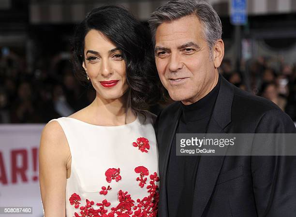 Amal Clooney and George Clooney arrive at the premiere of Universal Pictures' 'Hail Caesar' at Regency Village Theatre on February 1 2016 in Westwood...