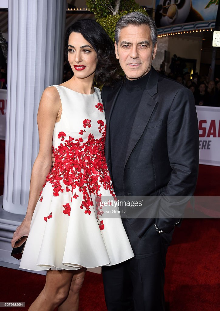 Amal Clooney and George Clooney arrives at the Premiere Of Universal Pictures' 'Hail, Caesar!' at Regency Village Theatre on February 1, 2016 in Westwood, California.