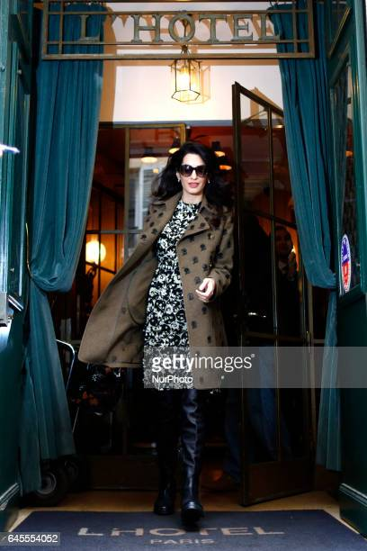 Amal Clooney and Georges Clooney seen leaving their hotel in Paris on February 26 2017