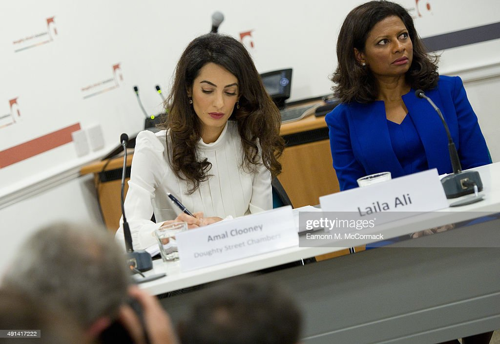 Amal Clooney and Laila Ali, Wife of Former Maldivian President Moahamed Nasheed attend a press conference regarding the detention of Mohamed Nasheed, President of the Maldives at Doughty Street Chambers on October 5, 2015 in London, England. Clooney is part of an international legal team seeking to release Maldivian President Mohamed Nasheed after he was was jailed for 13 years. The UN have found Nasheed's detention in violation of international Law.