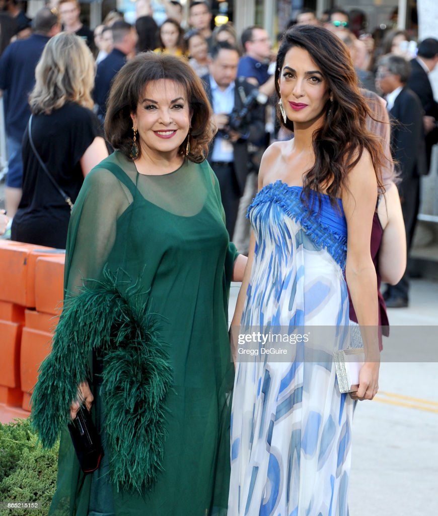 Amal Clooney and mom Baria Alamuddin arrive at the premiere of Paramount Pictures' 'Suburbicon' at Regency Village Theatre on October 22, 2017 in Westwood, California.