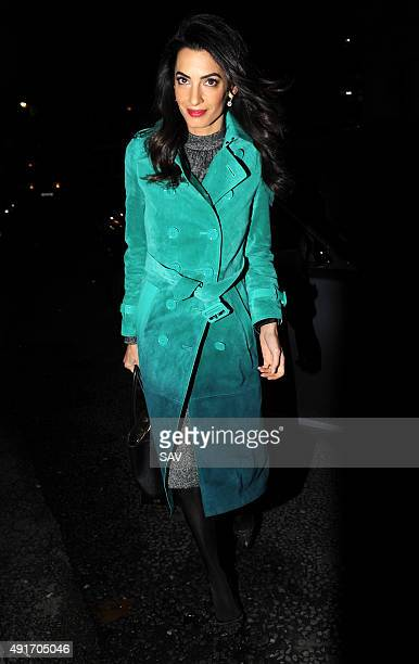 Amal Clooney arrives at The Frontline Club for her talk with Mohamed Fahmy on October 7 2015 in London England