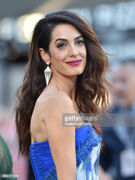 Amal Clooney arrives at the premiere of Paramount Pictures' 'Suburbicon' at Regency Village Theatre on October 22 2017 in Westwood California