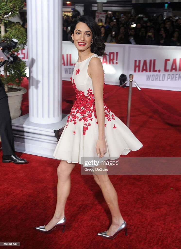Amal Clooney arrives at the premiere of Universal Pictures' 'Hail, Caesar!' at Regency Village Theatre on February 1, 2016 in Westwood, California.