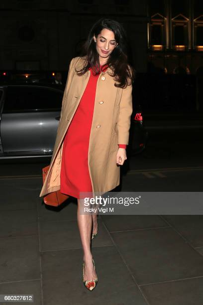 Amal Clooney arrives at Villandry restaurant after attending International crimes in Syria and Iraq Chatham House discussion on March 29 2017 in...