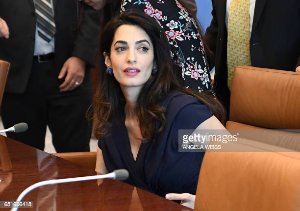 Amal Clooney arrives to meet with SecretaryGeneral of the United Nations Antonio Guterres at the UN Headquarters on March 10 2017 in New York / AFP...