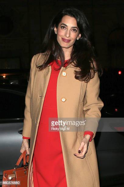 Amal Clooney arriving at Villandry restaurant after attending International crimes in Syria and Iraq Chatham House discussion on March 29 2017 in...