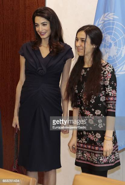 Amal Clooney at the UN Headquarters in New York City New York March 10 2017 Amal Clooney is the Legal Representative for Nadia Murad Basee Taha and...