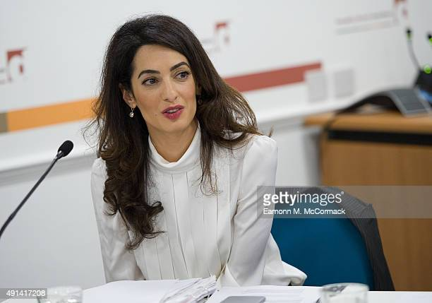 Amal Clooney attends a press conference regarding the detention of Mohamed Nasheed President of the Maldives at Doughty Street Chambers on October 5...