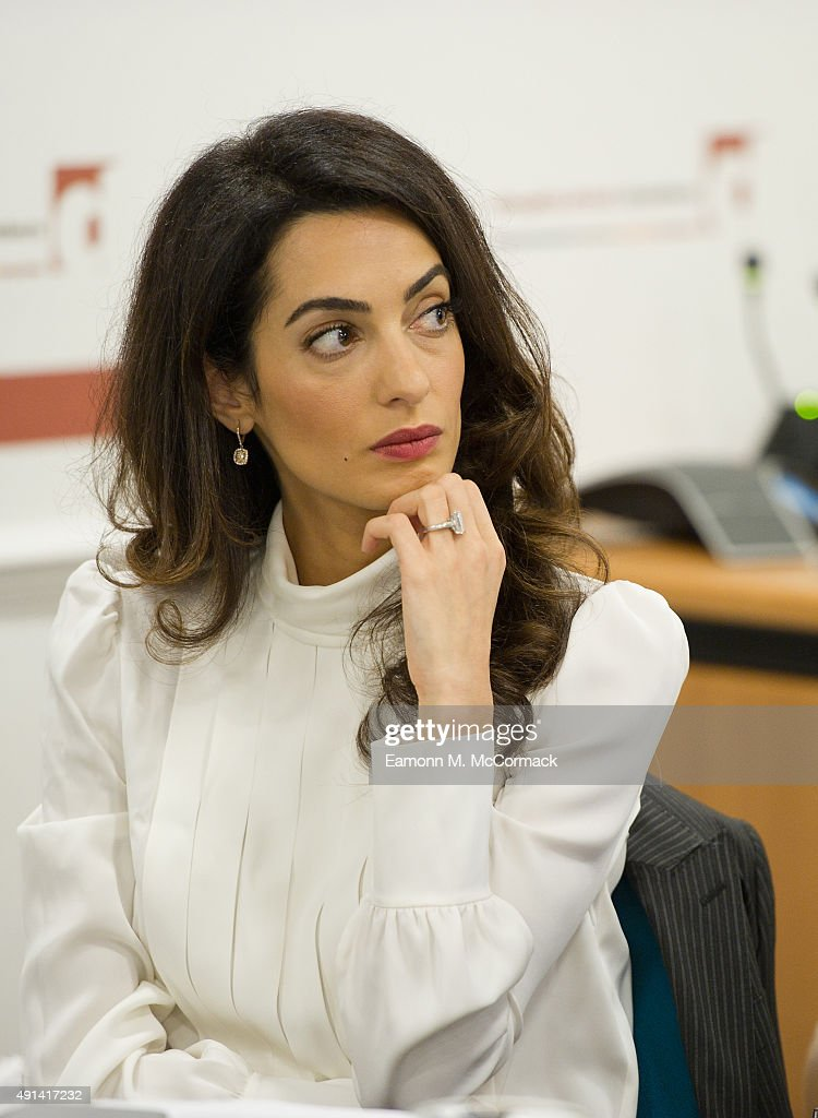 Amal Clooney attends a press conference regarding the detention of Mohamed Nasheed, President of the Maldives at Doughty Street Chambers on October 5, 2015 in London, England. Clooney is part of an international legal team seeking to release Maldivian President Mohamed Nasheed after he was was jailed for 13 years. The UN have found Nasheed's detention in violation of international Law.