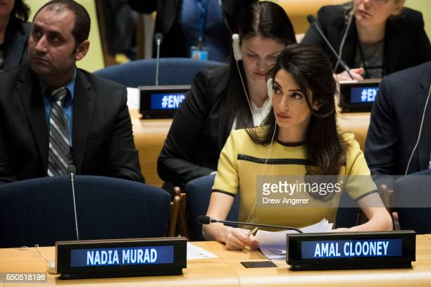 Amal Clooney attends an event titled 'The Fight against Impunity for Atrocities Bringing Da'esh to Justice' at the United Nations headquarters March...