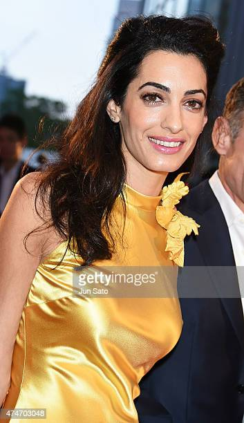 Amal Clooney attends the Tokyo premiere of 'Tomorrowland' at Roppongi Hills on May 25 2015 in Tokyo Japan
