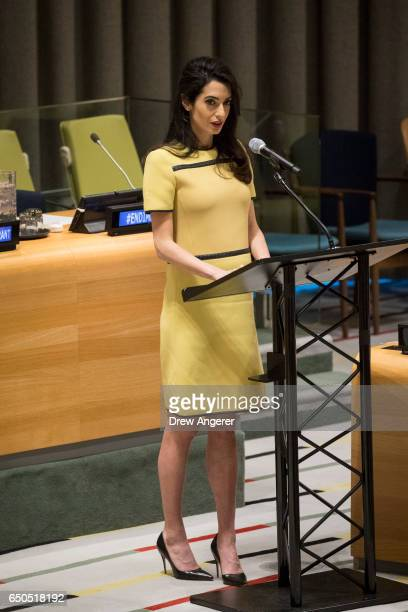 Amal Clooney delivers remarks during an event titled 'The Fight against Impunity for Atrocities Bringing Da'esh to Justice' at the United Nations...