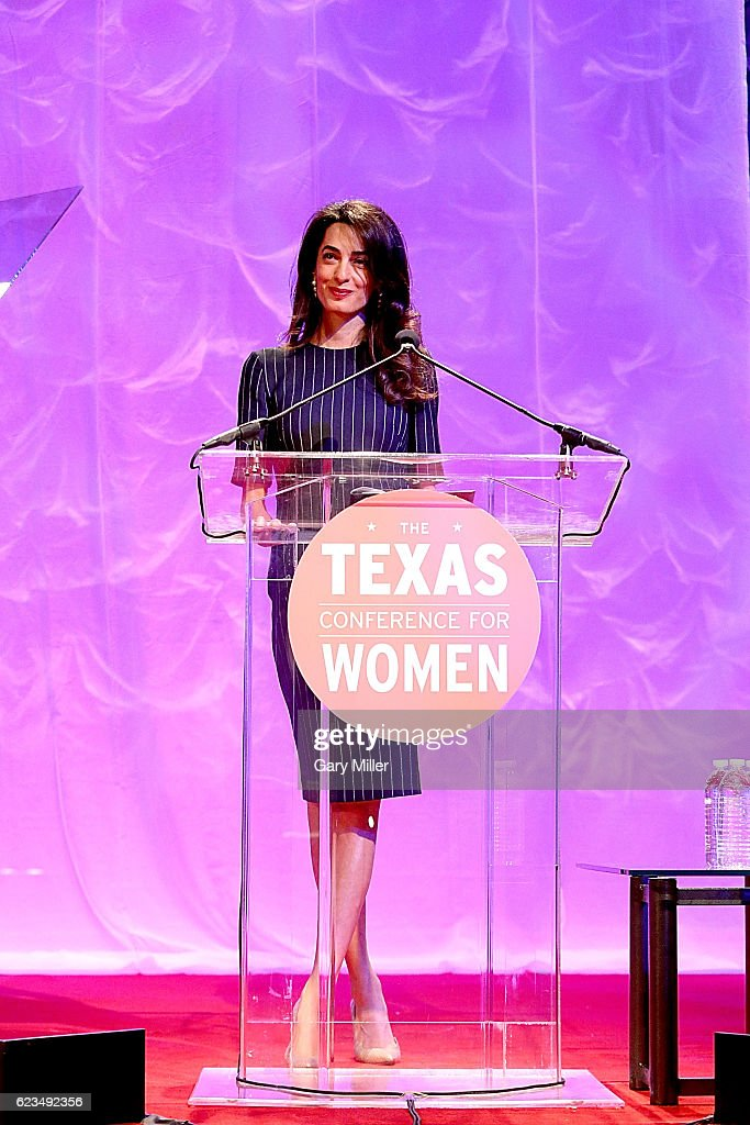 Amal Clooney gives the keynote address during the 17th Annual Texas Conference For Women at the Austin Convention Center on November 15, 2016 in Austin, Texas.