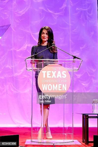 Amal Clooney gives the keynote address during the 17th Annual Texas Conference For Women at the Austin Convention Center on November 15 2016 in...