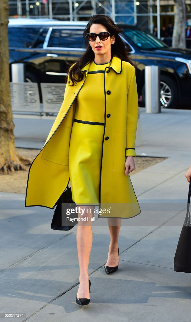 Amal Clooney is seen arriving at the 'United Nations' on March 9, 2017 in New York City.