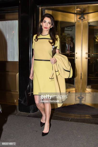 Amal Clooney is seen leaving her hotel on March 9 2017 in New York New York