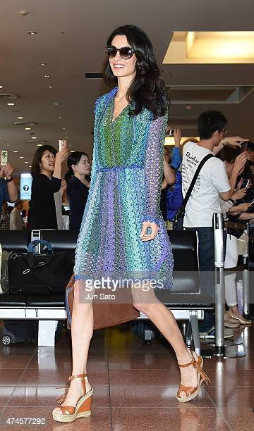 Amal Clooney is seen upon arrival at Haneda Airport on May 24 2015 in Tokyo Japan
