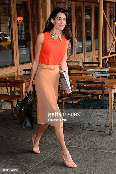 Amal Clooney is seen walking with an NYU law book in Soho on April 7 2015 in New York City