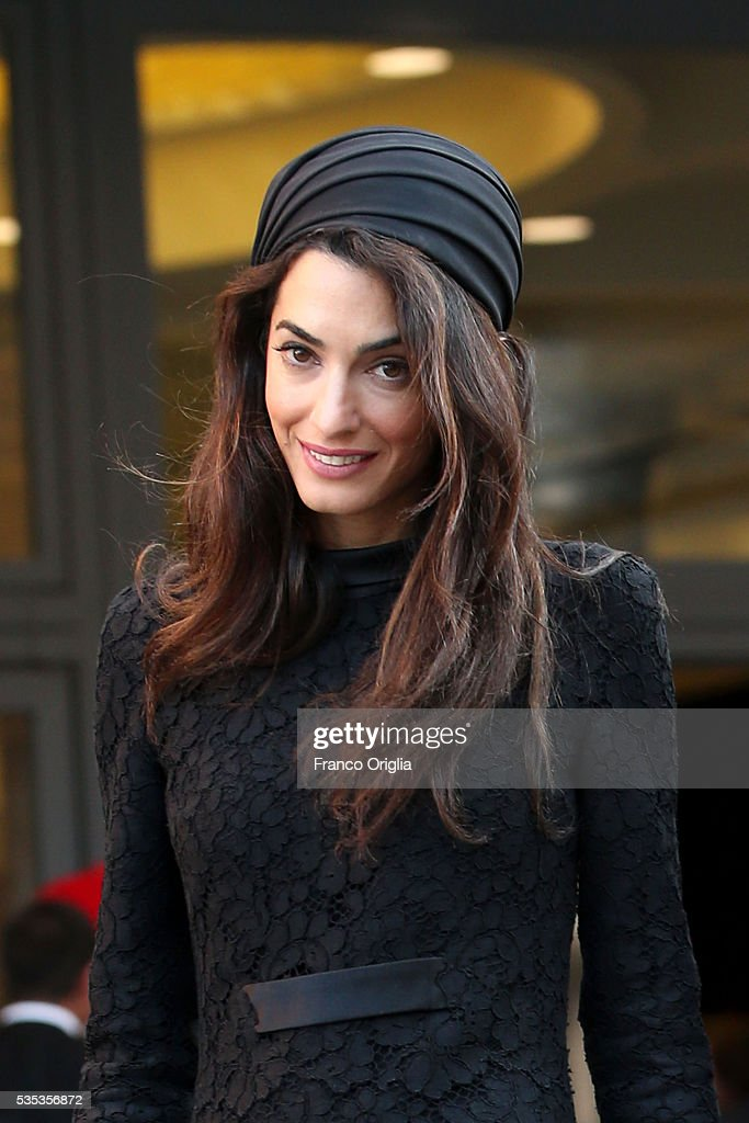 Amal Clooney leaves at the end of 'Un Muro o Un Ponte' Seminary held by Pope Francis at the Paul VI Hall on May 29 2016 in Vatican City Vatican