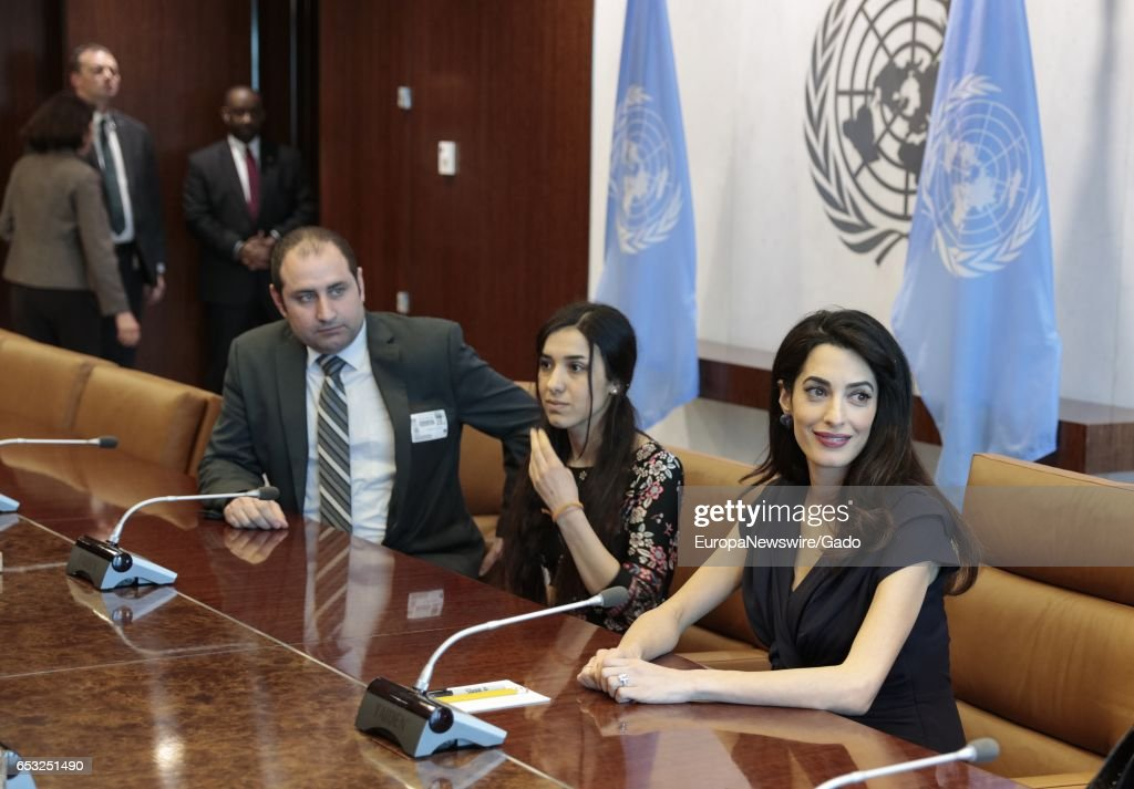 Amal Clooney meets with Secretary-General Antonio Guterres at the UN Headquarters in New York City, New York, March 10, 2017. Amal Clooney is the Legal Representative for Nadia Murad Basee Taha and other Yazidi survivors. (Photo via EuropaNewswire/Gado/Getty Images).